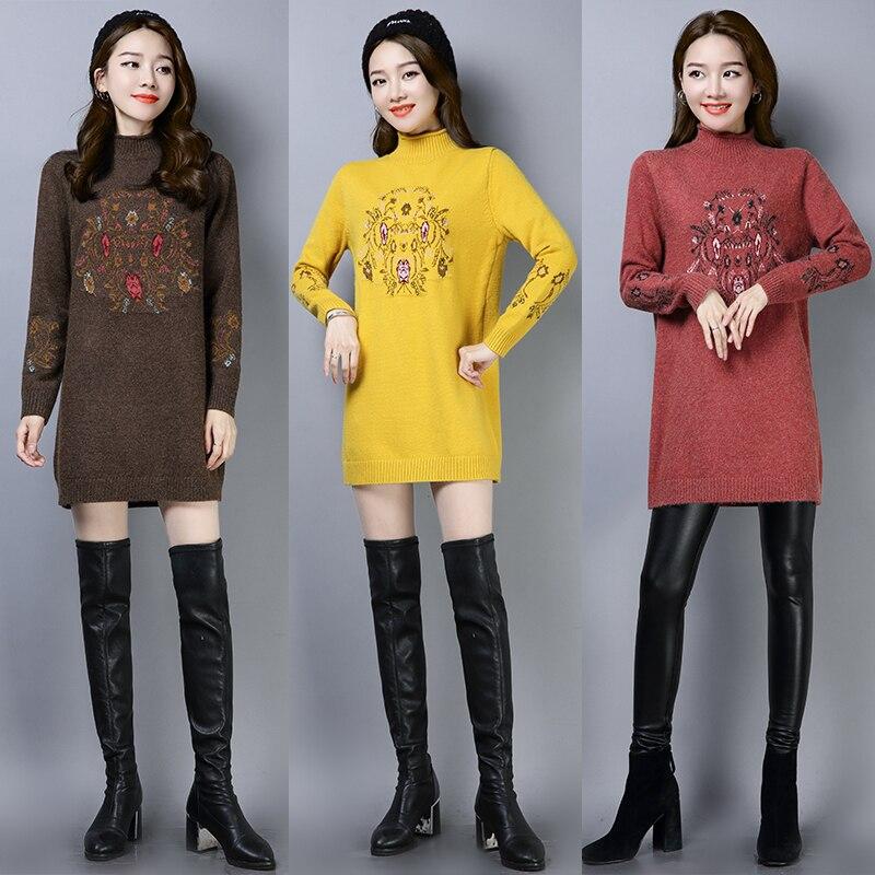 Long Tricoté Col marron rouge Semi Moyen Automne Cachemire Chandail Épaissie Femmes noir Haut kaki Beige jaune 2018 Coréenne Lâche Version Hiver Nouveau Jersey Laine De 6TwxAw1Y