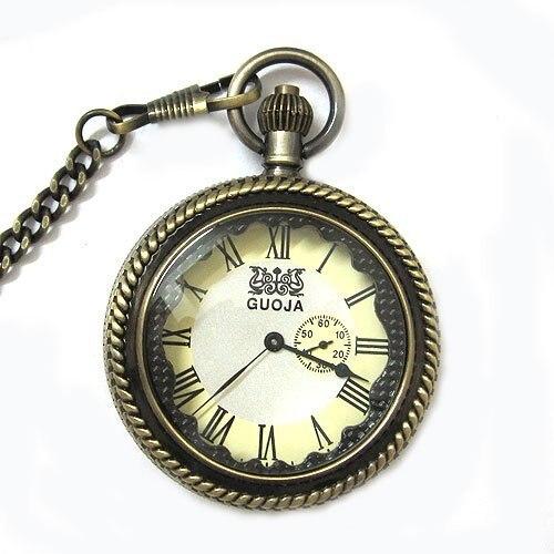 Античная бронзовая два набора механические карманные часы лупа