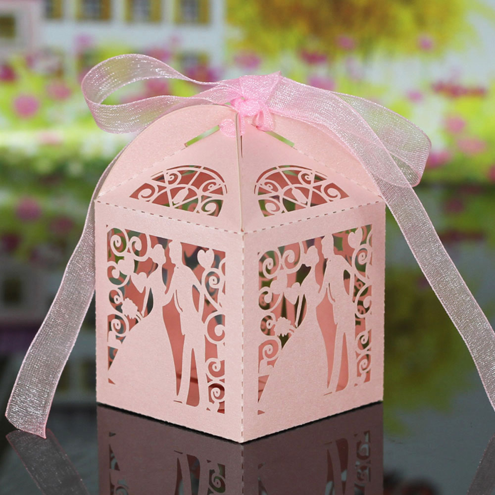 Pink Laser Cut Wedding Favor Box