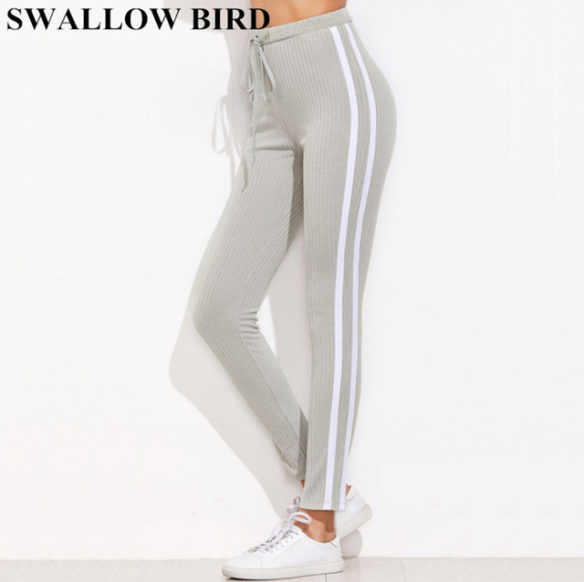 2018 New Grey Casual pants women High Waist Striped Pants Women Drawstring  Waist Skinny Pants Ribbed