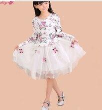 120 — 160 см девушки осень и зима 2016 осень Новый стиль зима принцесса детской одежды грудью украсьте платье