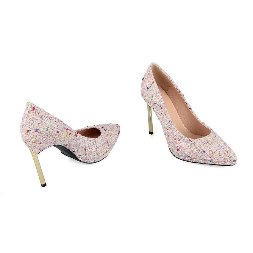 Pompes Esveva Noir Femmes Bout 2019 Élégant Printemps Taille Hauts De Automne Mince 34 rose Talons 40 Noir Sandales Chaussures Pointu On Slip tqrqAwR