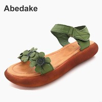 Abedake Brand Women Sandals Open Toe Genuine Leather Handmade Summer Shoes Sandals National Style Retro Sandals
