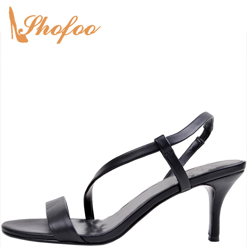 Black Solid High Thin Heels Sandals Leisure Fashion Elastic Band Concise Back Strap Casual Mature Shoes Large Size 14 15 Shofoo