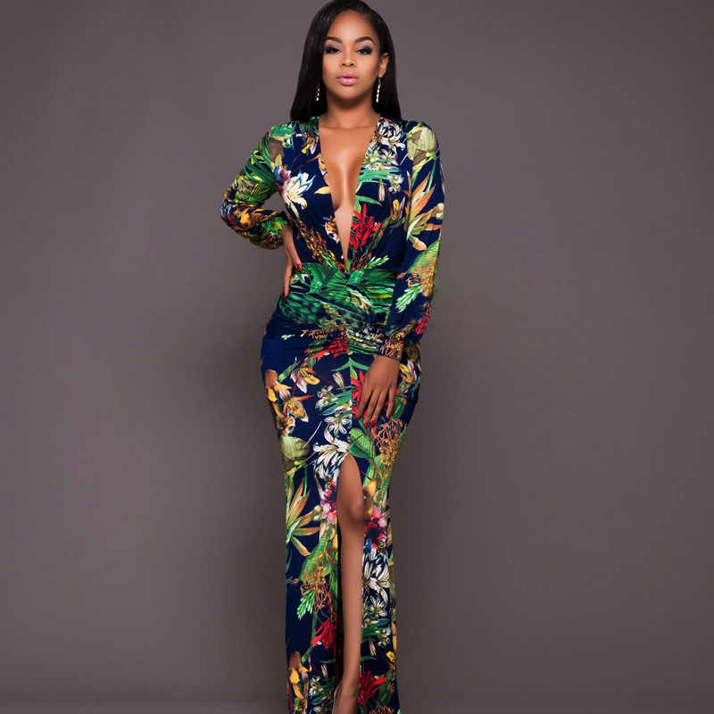 2020 Sexy Diepe V-hals Vrouwen Print Lange Split Jurk Mode Tuniek Soiree Maxi Jurk Dames Mode Avond Party Vestido de Festa