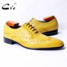 Cie vierkante teen laceup gemengde kleuren oxfords brilliant geel pure echt leer mannen casual schoen ademend handmadeOX311
