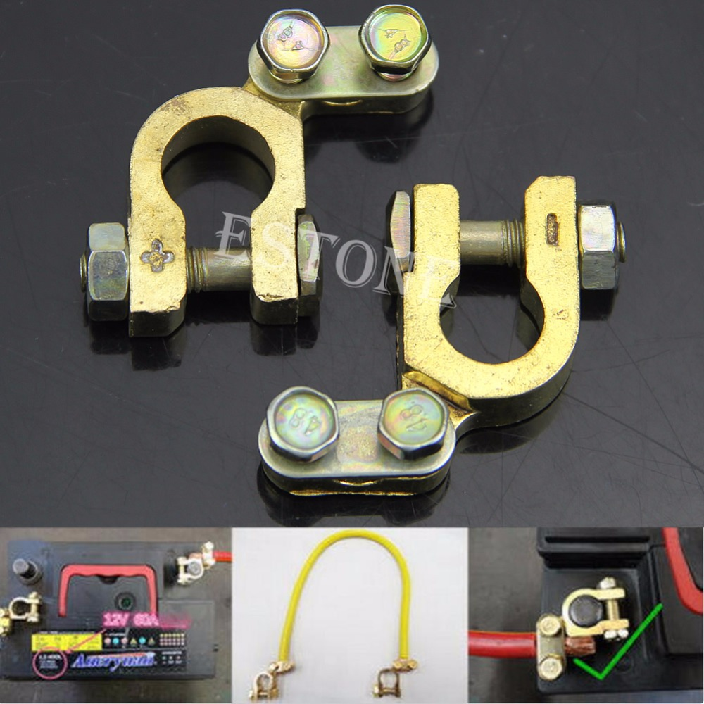 2pcs new auto car replacement battery terminal clamp clips brass connector hot china