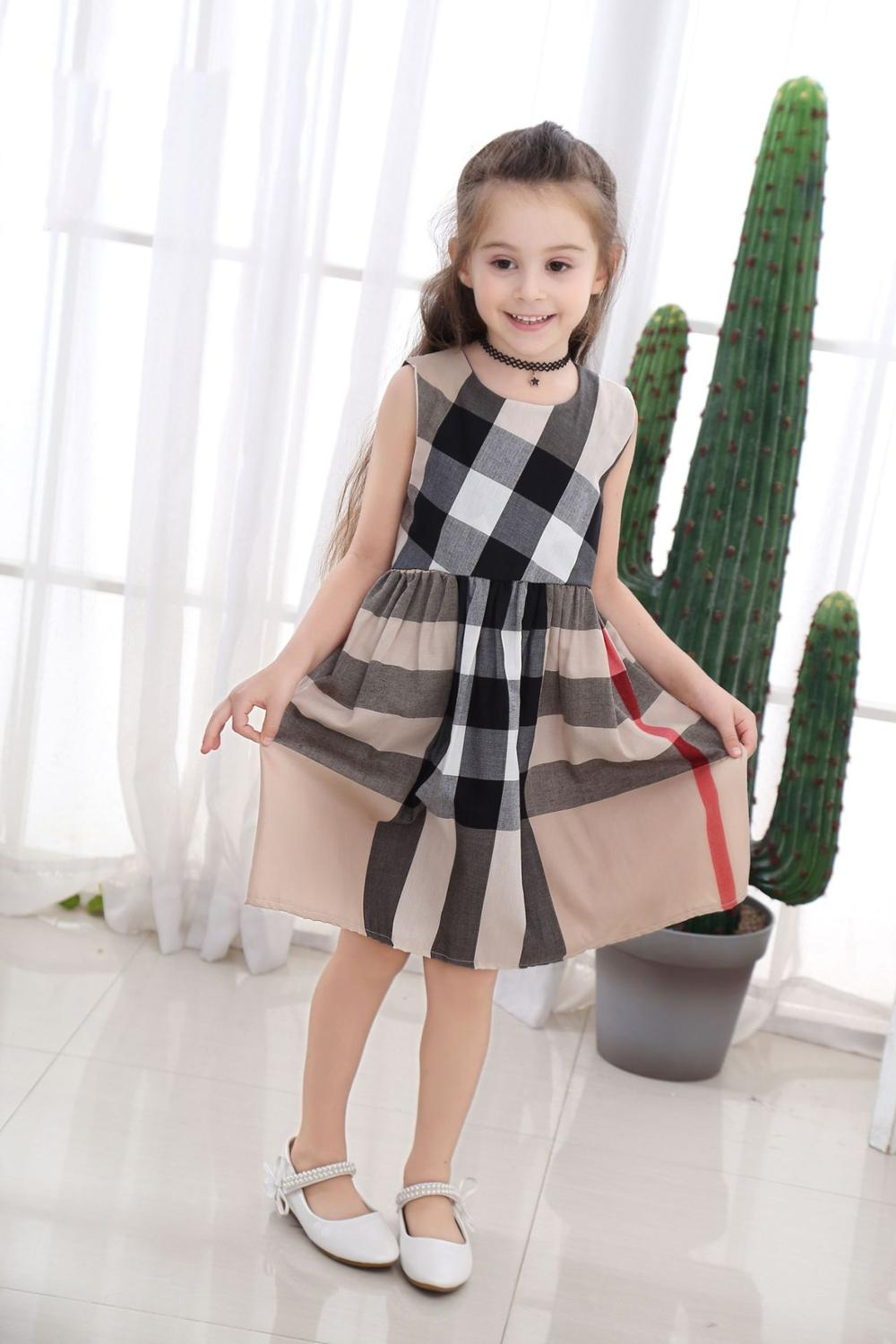 Summer sleeveless plaid baby Girl Pure cotton clothes ruffles backless Children dress crew neck baby dresses Kids Clothing(China)