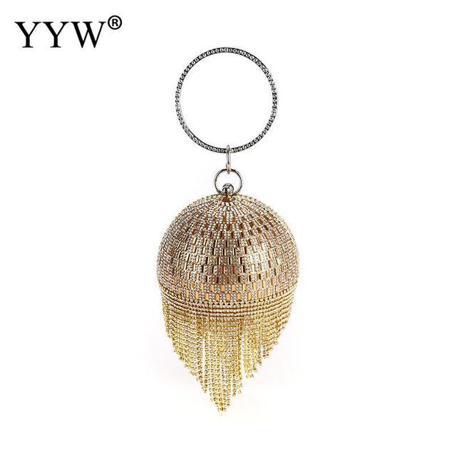 Mulheres Sacos de Noite Saco De Noiva Saco Bolsa de Ombro Wristlets Bolsa Da Embreagem de Ouro Borla Diamante Garras De Cristal Do Partido Do Metal