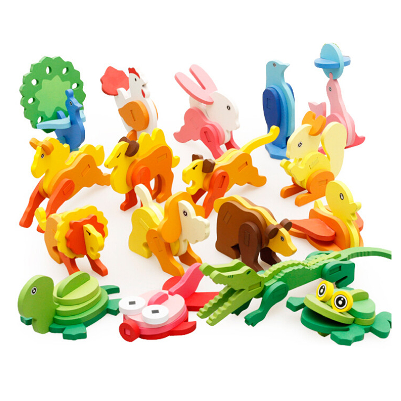 Baby 3D Three-dimensional Wooden Animal Jigsaw Puzzle Toys For Children DIY Kids Handmade Wooden Toys Animals Puzzles Education
