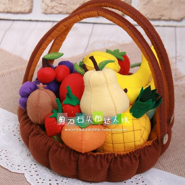 Three dimensional fruit basket Felt kit Non-woven cloth Craft DIY Sewing set Felt Handwork Material DIY needlework supplies