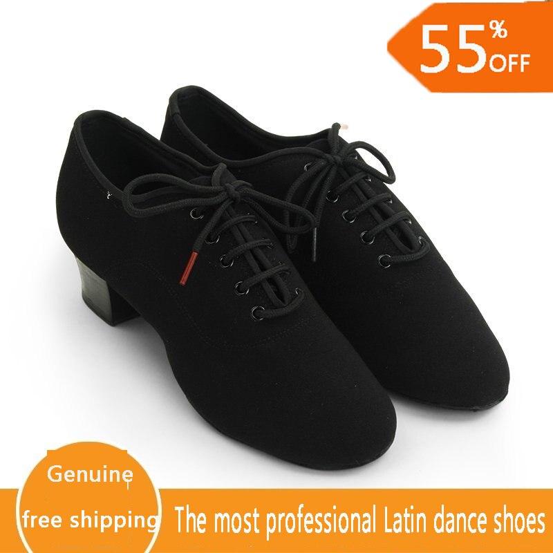 Image 5 - Genuine BD Men shoes Latin Dance Shoes Adult two point Soles Teacher Shoes Soft base Dance shoes male 417 Oxford Cloth Heel 4.5-in Dance shoes from Sports & Entertainment on AliExpress