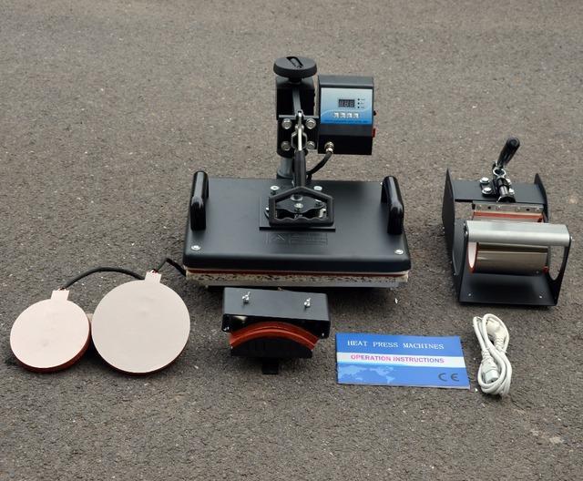 Nuevo 30*38 CM 5 en 1 Máquina Combinada Prensa del Calor de Transferencia de la Sublimación Máquina de La Impresora De Sublimación de Camisetas Tapa taza de Placas