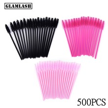 GLAMLASH Wholesale 500Pcs disposable Micro Mascara wand eyelash extension cleaning brush lash eyebrow Applicator Spoolers