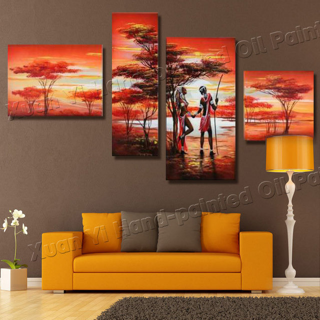 4 panel african safari canvas art oil painting forest - Landscape paintings for living room ...