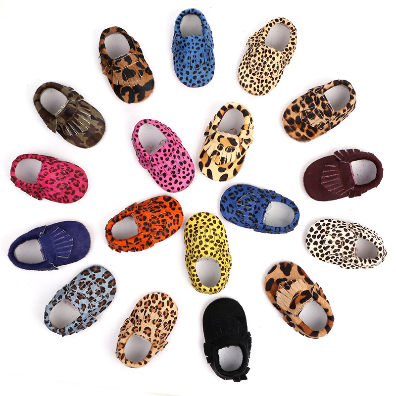 Genuine Leather Baby Girls Shoes First Walkers Fringe Soft Bottom Baby Moccasins Horse Hair Leopard Toddler Newborn Shoes