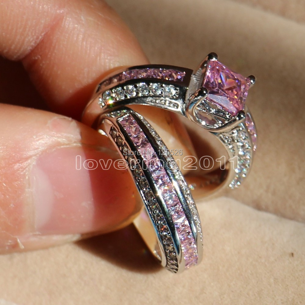 Choucong Princess Cut Pink Stone 5A Zircon 10KT White Gold