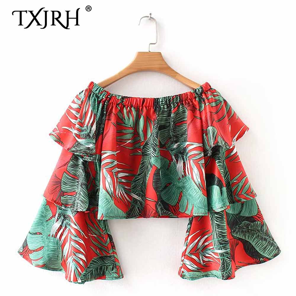 TXJRH Sexy Ethnic Tropical Floral Print Shirt Slash Neck Pullover Off the Shoulder Long Flare Sleeve Blouse Tops Women blusas