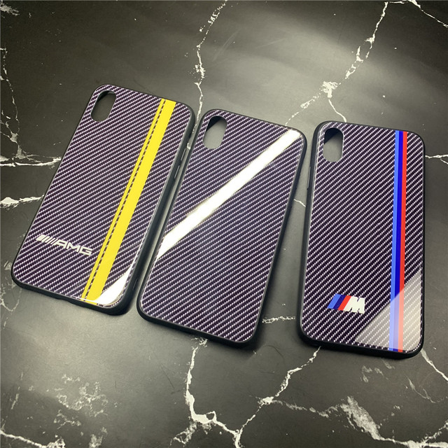 new styles 012f9 71ff5 Supercar Motorsport AMG Carbon fiber Case for iPhone X XR XS MAX 8 7 6 6S  Plus Luxury Glossy Tempered Glass Cover M RS Coque