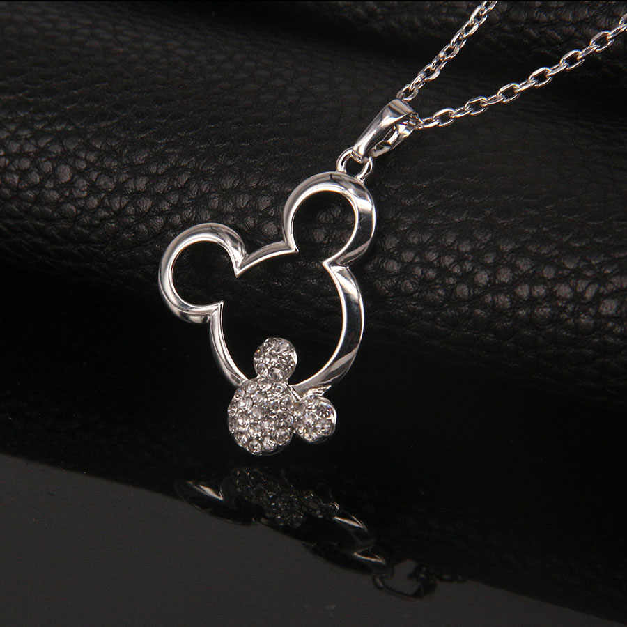Moda austriacka rhinestone dziewczyna śliczne kobiety ślub dziecko kryształ biżuteria impreza z motywem myszki miki popularny prezent na boże narodzenie wisiorki naszyjnik