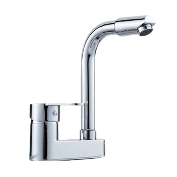double holes kitchen faucet with single lever hot and cold kitchen ...
