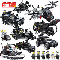 2384PCS City Flying Tigers Car Vehicle Building Blocks Compatible Legoed SWAT City Police Helicopter Boat Brick Toy For Boys