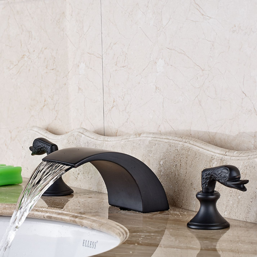 Oil Rubbed Bronze Widespread Waterfall Faucet Swan Handle Vanity Sink Mixer Tap allen roth brinkley handsome oil rubbed bronze metal toothbrush holder