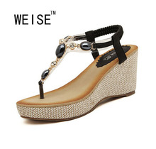WEISE 2016 Bohemian Shoes Woman Diamond Comfortable High Hell Wedges Women Sandals Soft Rubber Hand-Beaded Style Sandals