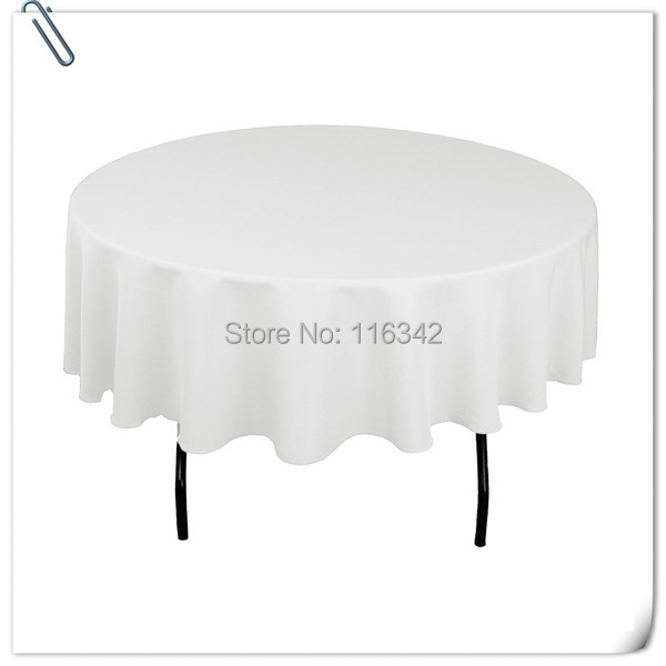 Hot Sale With Best Price 10pcs white polyester round table cloth 305cm for Wedding &Party &restaurant Decoration FREE SHIPPING