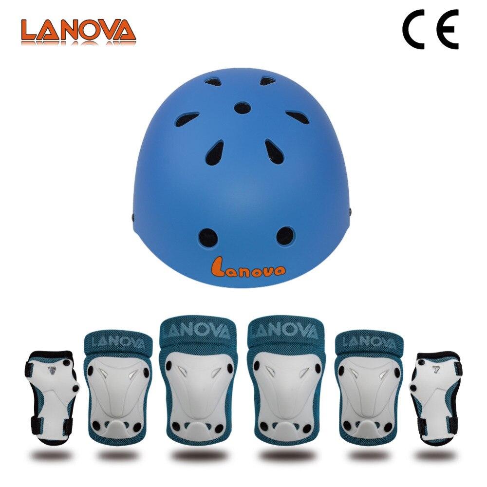 7pcs Kids Roller Skating Helmet Knee Elbow Wrist Pads Protective Gear Set