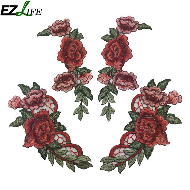 4 pz Ricamo Del Fiore della Rosa Sew On Patch Vestito Cappello Sacchetto Cucito Appliques Artigianato Abbigliamento Accessori Cucito Appliques LQW3149