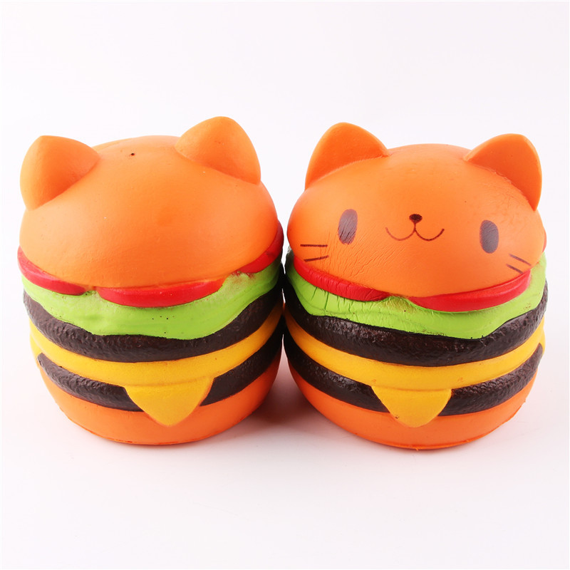 1pc Soft Rebound Flexible PU Plastic Squishy Cat Face Hamberger Toy Children Kids Baby Bebe Play Safe Lovely Kitchen Decoration