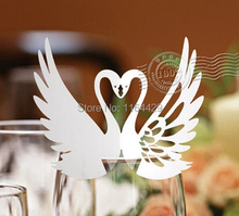 12pcs Paper White Swan Lace Laser Cut Glass Cup Card Name Place Cards Wedding Birthday Party