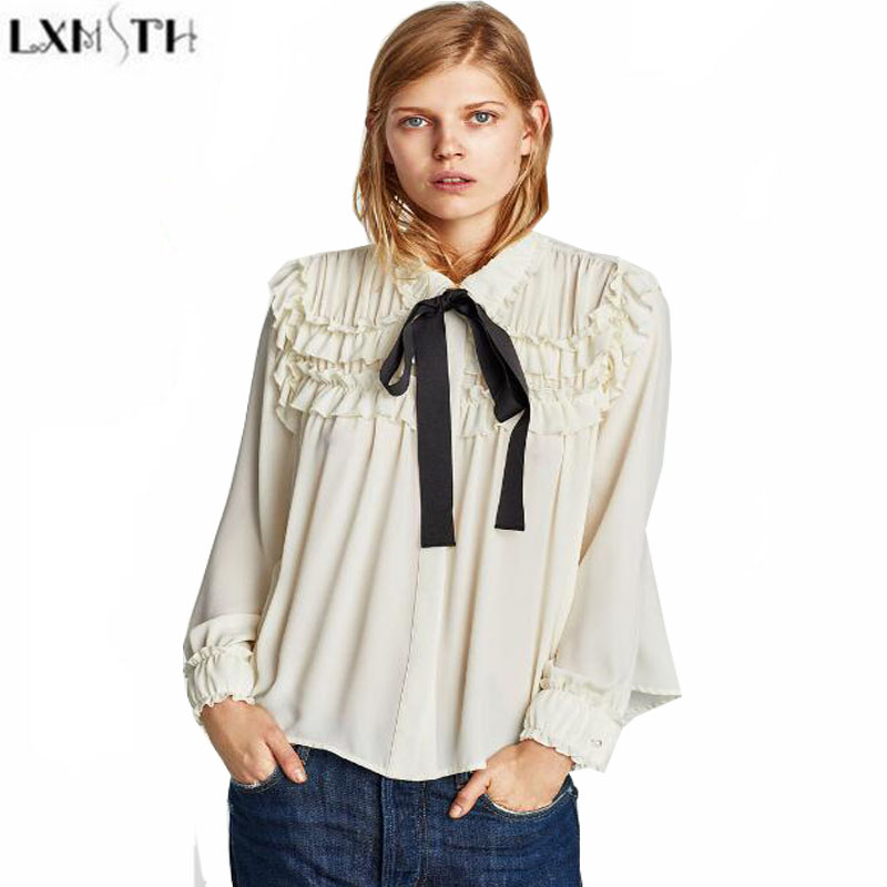 0e439adaea44c LXMSTH 2018 Spring Women Blouses Fashion Sweet Bow Lace Up Blouse Long  Sleeve Ruffles Patchwork Ladies Tops Elegant Blouse White