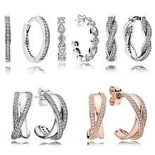 7943339db997 Rosa gotas corazón entrelazados pendiente aros de plata de ley 925  pendientes de plata para mujer de fiesta de boda