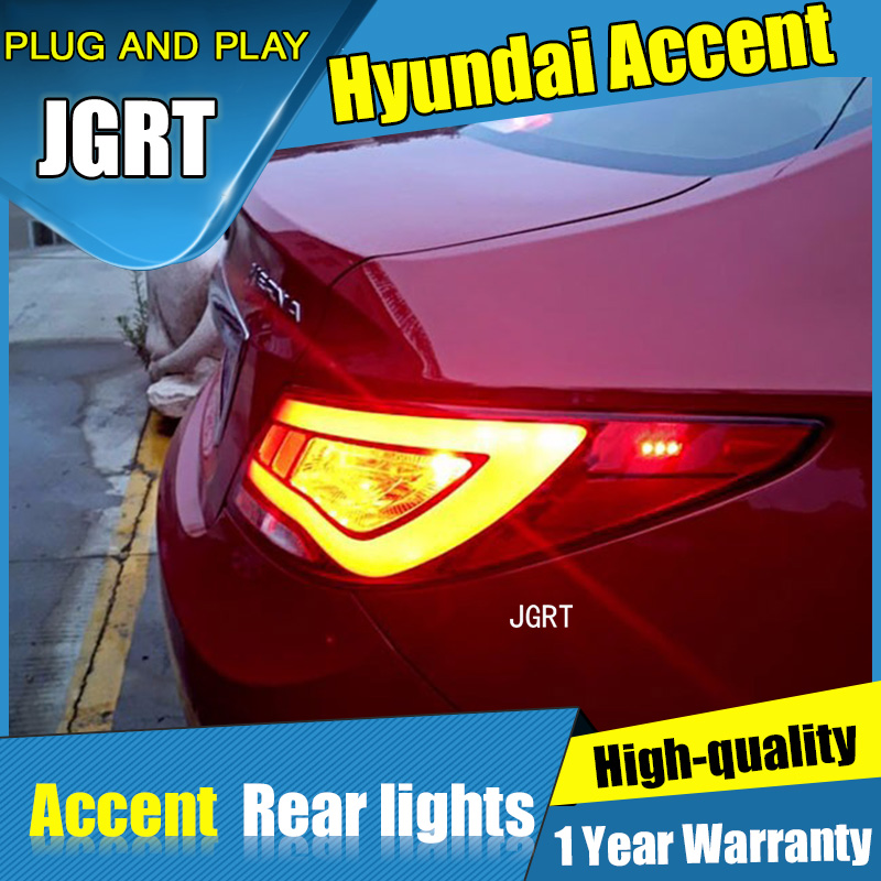 2PCS Car Styling for Hyundai Accent Taillights 2011-2014 for Accent LED Tail Lamp+Turn Signal+Brake+Reverse LED light car styling for hyundai accent led taillight assembly 2011 2013 solaris tail light verna rear lamp drl brake with hid kit 2pcs