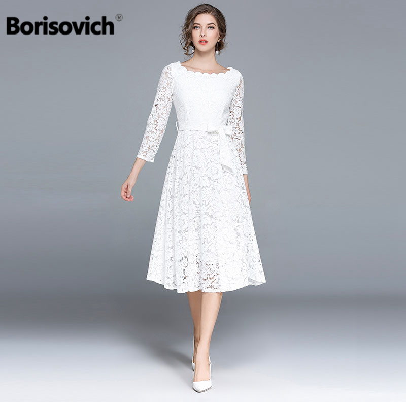 Borisovich Luxury White Lace Women Casual Dresses New Arrival 2018 Spring Fashion O-neck Ladies Elegant Evening Party Dress M146