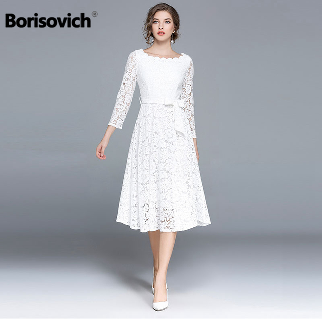 7d725a60651 Borisovich Luxury White Lace Women Casual Dresses New Arrival 2018 Spring  Fashion O-neck Ladies Elegant Evening Party Dress M146
