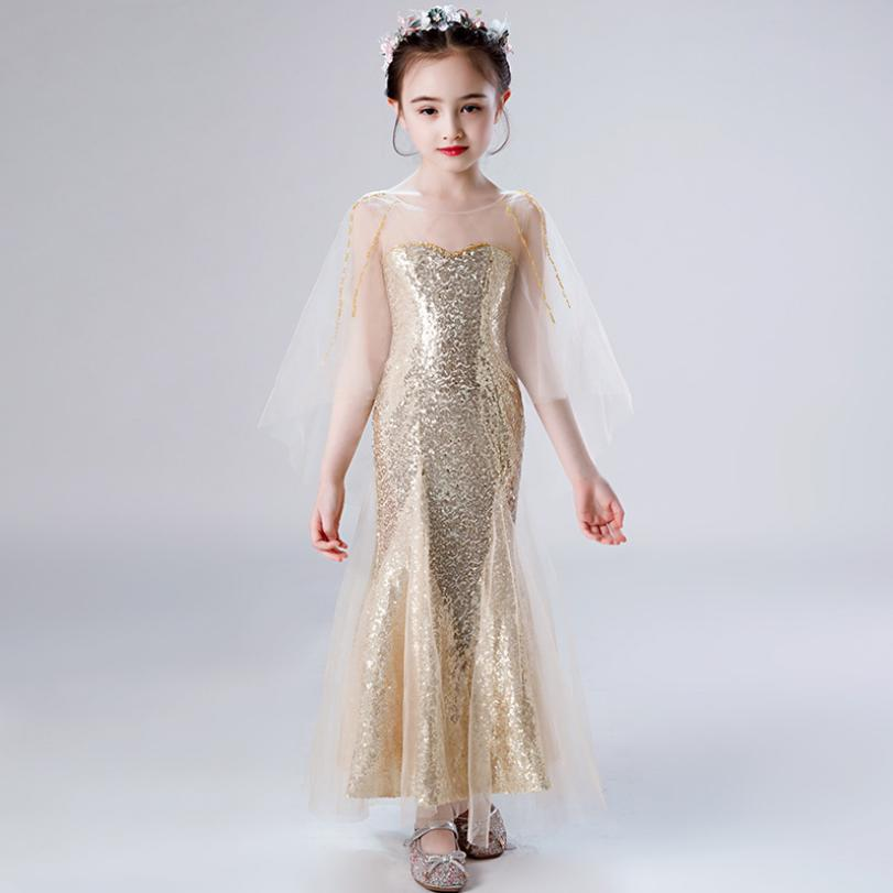 HIght-end Girl Sequined Dress Children Sleeveless Sexy mermaid Princess Dress Birthday Party Costume Modis kids Vestidos Y1364HIght-end Girl Sequined Dress Children Sleeveless Sexy mermaid Princess Dress Birthday Party Costume Modis kids Vestidos Y1364