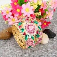 Tuliper Pink Enamel Flower Rose Bangle Austrian Crystal Rhinestone Bracelets & Bangles For Women Wedding Party Jewelry
