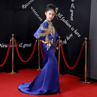 Обувь для девочек королевский синий Русалка вечернее платье с шалью Новинка 2018 года со шлейфом Подиум китайский стиль золотой вышивк