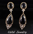 Gold Plated Mirco-Paved High Quality Long Big Black CZ and Dropping Crystal Stone Earrings For Women CZ106