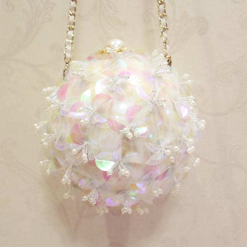 2017 new fashion spherical flowers hand bag chain Shoulder Bag Messenger Bag round mini bag small banquet