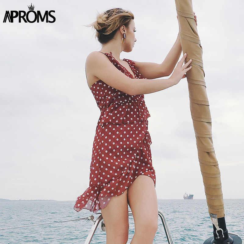 Aproms сексуальный платье в горошек с рюшами Бохо женское сексуальное платье с v-образным вырезом, без рукавов мини-платье 2019 шикарное летнее платье, халат Femme Сарафан