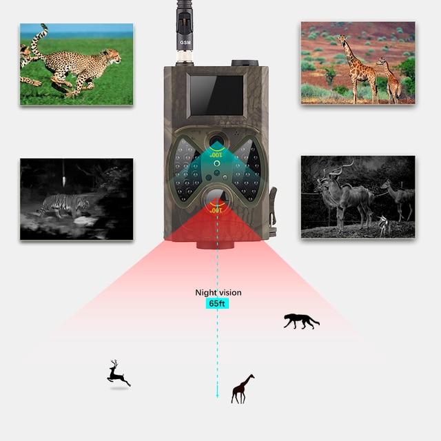 2G GSM MMS SMTP Hunting Trail Camera Cellular Mobile 12MP 1080P Photo Traps Wild Camera HC300M Wireless Wildlife Surveillance 3