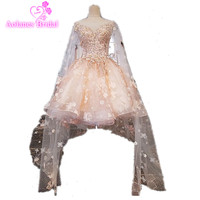 Real Photo 2017 Pink High Quality Sexy Lace Applique Short Beach Boho Wedding Dress Ball Gown