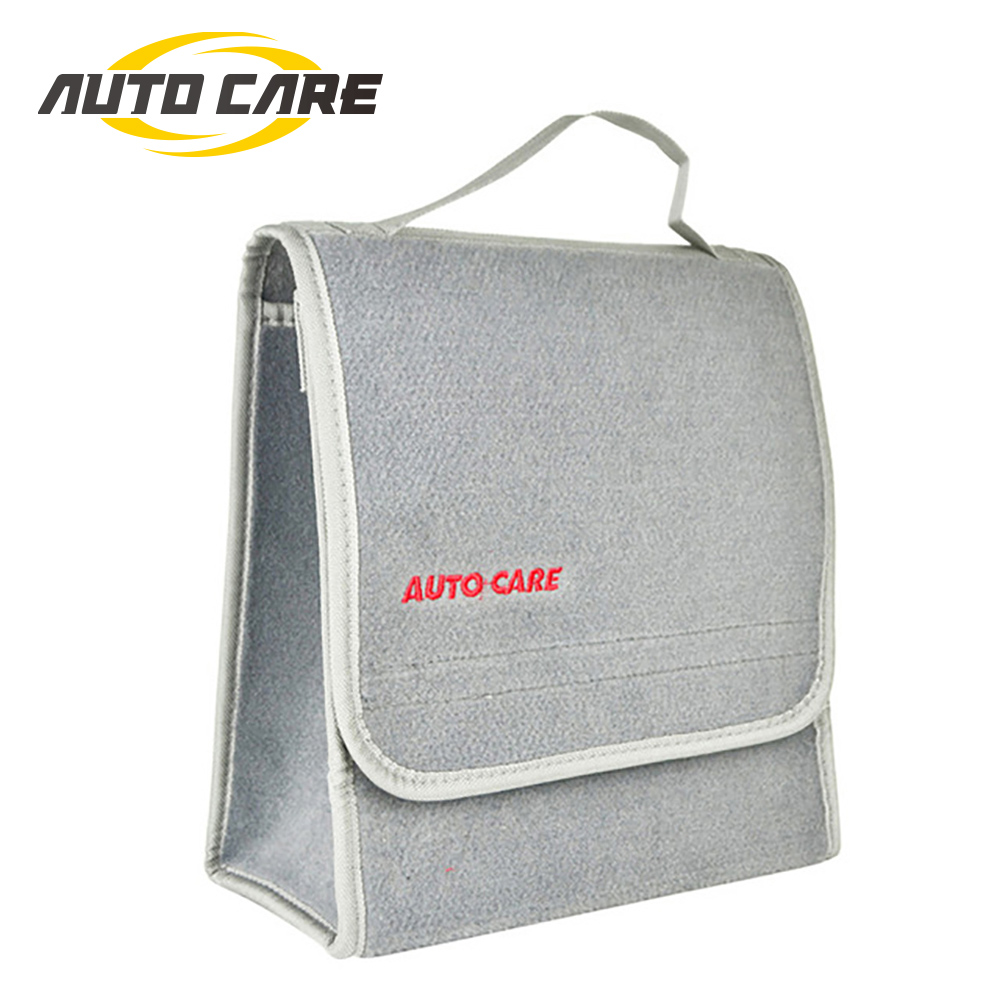 Auto Care Small Car Smart Tool Organizer Bag Grey Car Trunk Organiser Built in strong Velcrofix system holds to car carpet bag