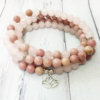 Ruberthen Matte Rose Quart z 108 Mala Bracelet Rhodonite Lotus Charm Necklace Trendy Fashion Yoga Balance Bracelet for Women 1