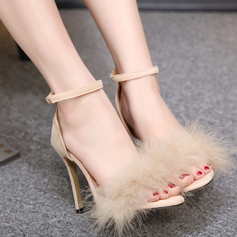 все цены на Women Feather High Heels Shoes Sexy Thin Heels Fur Sandals Open Toe Fashion Casual Women Party Shoes Ladies Wedding Shoes ABT749 онлайн
