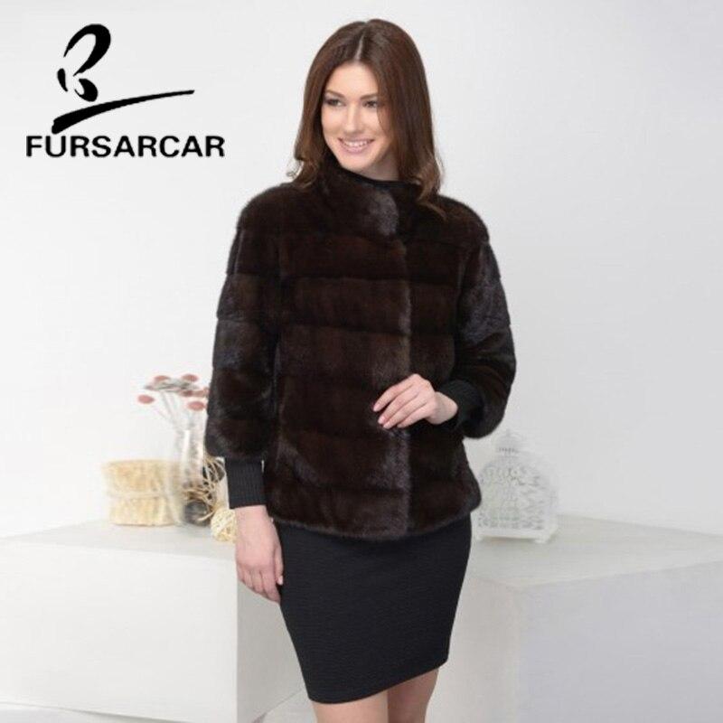 FURSARCAR 100% Real Mink Fur Coat Women Whole Skin Fashion Slim Fur Coat Short Winter Mink Fur Jacket With Mandarin Collar